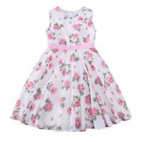 Wholesale Baby Girls Rose Dresses - Kidsalon Princess Dress Baby Girls Summer Dresses 2017 Designer Clothes Kids Rose Flower Dress for Girls Costumes Robe Enfant