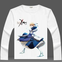 Wholesale Night Shirt Men - Fate stay night T shirt Cosplay long sleeve Unlimited Blade Works tees Anime clothing Men cotton Tshirt