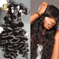 Wholesale Loose Wave Human Hair Unprocessed - Brazilian Hair Extensions Unprocessed Indian Human Hair Bundles Dyeable Black Color Hair Weave 4pcs lot 7A Loose Deep Wave BellaHair