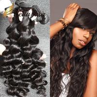 Wholesale Deep Wave Human Hair 4pcs - Brazilian Hair Extensions Unprocessed Indian Human Hair Bundles Dyeable Black Color Hair Weave 4pcs lot 7A Loose Deep Wave BellaHair