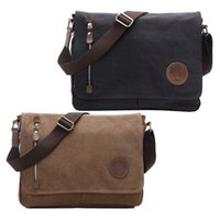 Men's Vintage Canvas Mensageiro casual Shoulder College School Bag Travel Satchel