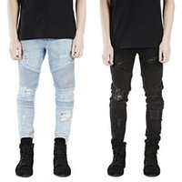Wholesale Blue Denim Skinny Jeans - Wholesale-Plus Size represent clothing designer pants blue black destroyed mens slim denim straight biker skinny jeans men ripped jeans