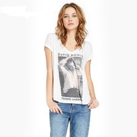 Wholesale David Bowie T Shirt - European Style Summer Casual Women T Shirt David Bowie Print Graphic Top Tees White V-Neck Cotton Short Sleeve T-Shirts