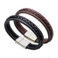 ordenando tece venda por atacado-De alta qualidade simples tecido de couro moda clássico punk aço titanium pulseira FB433 misturar a ordem de 20 peças muito Slap Snap pulseiras