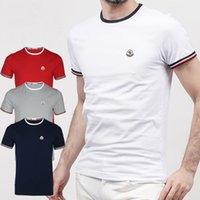 Wholesale Men Undershirt Short Sleeves - Men T Shirt Brand LOGO Embroidery High Quality 2017 Men Casual Undershirt Solid Cotton Hip Hop T-shirt Fitness Tshirt luxury Men's clothing