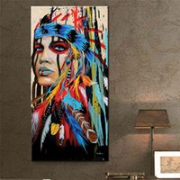 Wholesale Colorful Abstract Landscape - hand painted native Indians feathered Painting colorful indian dressing girl poster wall decorative picture canvas art