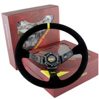 Wholesale Drifting Leather - 14inch 350mm Racing Car OMP Style Steering Wheel Racing Car Steering Wheel OMP Suede Leather Deep Corn Drifting Steering Wheels