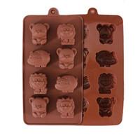 moldes de chocolate de oso al por mayor-Animales lindos Pastel de silicona Molde de chocolate Jabón Jelly Moldes Moldes de la torta DIY Utensilios para hornear Cocina Hornear Pastelería Herramientas Oso León hipopótamo