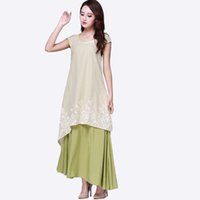 Wholesale Embroidery Cotton Dress For Women - 2017 Summer Dress Plus Size M~3XL Maxi Dress Embroidery Vintage Short Sleeve O Neck Vestidos Linen Cotton Dress for Women Long Robe