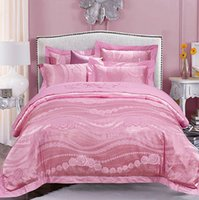 Wholesale Luxury Pink Duvet Covers - Luxury Satin Pink Bedding sets duvet cover set Jacquard bedspreads bed sheet bed in a bag linen spread King Queen size fell 4PCS