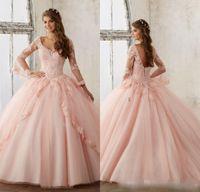 organza real venda por atacado-Bebê Rosa Azul Quinceanera Vestidos 2017 Lace Manga Comprida Com Decote Em V Masquerade Vestidos De Baile Doce 16 Princesa Pageant Vestido Para Meninas Barato