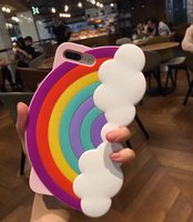 Wholesale Rainbow Cover Mobile - For iphone 6 6S iphone 7 i7 7 plus Soft Gel Silicone Case Sunshine Rainbow Mobile Phone Cover Case Colorful Rubber Case