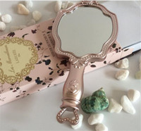 Wholesale Hand Pocket Mirror Wholesale - hot LADUREE Compact Mirrors HAND MIRROR N cosmetics Makeup mirror Compact Vintage Plastic holder make up pocket mirror A160