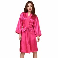 Wholesale- Plus Size Women s Robe Kimono Bath Gown Yukata Nightgown Lady  Faux Silk Sleepwear Sleepshirts Pijama Mujer Hot Pink Ttg01 a50e57c5a