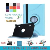 Wholesale Smart Pad Tablet - 360 Rotating PU Leather Stand Case Smart Cover for LG G PAD X 8.3 VK815 Tablet Case+Pen