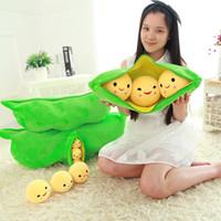 Wholesale Stuffed Peas Pod - Wholesale- Peas Pillow 3 Peas in a Pod Plush Cute Toy Stuffed Animal Soft Doll Bean Bag