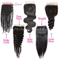 Wholesale Silk Curly Closure - Cheap Peruvian Body Wave Silk Lace Closure Straight Loose Deep Wave Kinky Curly Human Hair Closure Three Middle Free Part Closure