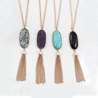 Wholesale Turquoise Gold Pendant Necklace - Bohemian Long Tassel Statement Necklaces for Women Natural Stone Druzy Pendant Bulk Price