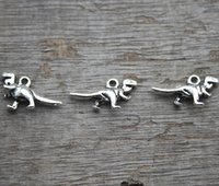 Wholesale Dinosaur Charms - 30pcs-- Antique Tibetan silver Mini Cute 3D Dinosaur Charms Pendants 11x21mm