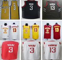 Wholesale Men Shirt Styles - 2017 2018 New Style Cheap Houston #3 Chris Paul Jersey College Shirt Uniform Red White Black Wholesale 13 James Harden Basketball Jerseys