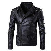 Wholesale Leather Jacket Sleeve Detail - Men's Leather Jacket Motorcycle Leather Jacket Braided Detail Male Fashion Casual Stand Collar Solid Slim Mens Leather Jacket M-5XL free DHL