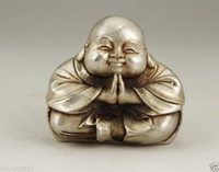 Wholesale White Metal Statue - CHINESE OLD WHITE COPPER HANDWORK CARVING MONK BUDDHA STATUE
