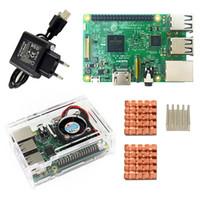 Wholesale Raspberry Case - Wholesale- D Raspberry Pi 3 Model B starter kit-pi 3 board   pi 3 case  EU power plug with logo Heatsinks pi3 b pi 3b with wifi & bluetooth