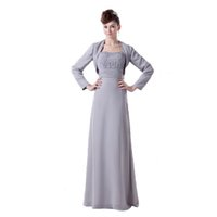 Wholesale Bride Mum - Hot Selling Brand Mother of Bride Dress Gray Chiffon With Long Sleeve Jacket Beaded Bodice Dress Mum