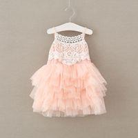 Wholesale Crochet Lace Singlet - 2017 BabyGirl Crochet Lace Dress Kids Girls Tulle tutu Dress Baby Girl Singlet Party Dress Children's Summer clothing