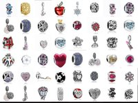 Wholesale wholesale snake chain heart pendant - Wholesale 50Pcs   Lot Mixed Pendant Charm Sterling Silver European Charms Bead Fit Pandora Bracelets Snake Chain Fashion DIY Jewelry