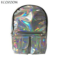 Wholesale Cheap Men Leather Backpack - Wholesale- New Cheap Gammaray backpack Women Silver Hologram Laser shoulder bag PU leather Holographic Backpack Multicolor schoolbag