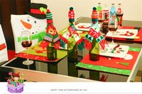 Wholesale Diy Scarves Set - Christmas decoration fashion new DIY Party home Decor Red wine sets superior quality Knitted scarf hat suit Festive Party Supplies wholesale