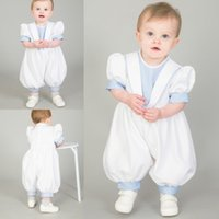 Wholesale Baby Boy White Dress Shirts - Cute First Communion Gowns Boy Baby Free Shipping Puff Sleeves Jewel Neckline Christening Suits Custom Made Pageant Gowns
