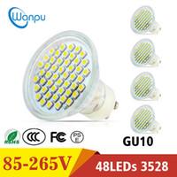 Wholesale 24v Led Garden Lighting - LED Light Bulb GU10 SMD 3528 48 LEDS With Glass Cover Warm White Cold White AC 85-265V Spotlight Spot Lamp