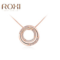 Wholesale Double Chain Circle Gold Necklace - 2017 ROXI Brand Classic Necklace for Women Double Circle Pendant Women Necklace Rose Gold Color Chain Necklace Mother's Day Gift