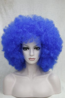 Бесплатная доставка ! DARK BLUE CURLY AFRO WIG CIRCUS CLOWN UNISEX FANCY DRESS FOOTBALL SPORT SUPPORTER парики