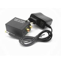 cabo de áudio óptico venda por atacado-Optical 3.5mm Coaxial Toslink Digital para Analógico Conversor Adaptador de Áudio RCA L / R com Adaptador de Alimentação de cabo de fibra óptica