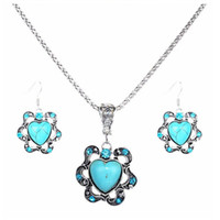 Wholesale Pendant Turquoise - Europe and the United States national wind love hollow flowers diamond turquoise pendant hot necklace free shipping