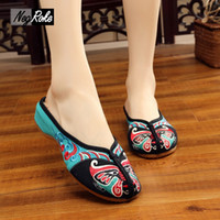 Wholesale Chinese Summer Sandals - 2017 Summer Chinese indoor home Slippers women shoes Peking Opera embroidery sandals women Casual shoes mujer slides zapatillas