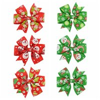 Wholesale Painting Alloys - Free shipping 24pcs lot Christmas Snowman Painted Grosgrain Ribbon Hair Bow Clips Kids Hairpins Boutique Bow Clips Hair Accessories 642