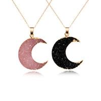 ingrosso collana di resina nera-Collana di pendente della luna della resina di Druzy di 1pc per le donne colore nero d'argento dei monili N353 -T2 della catena drusy