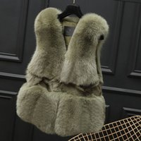 Wholesale Womens Winter Sleeveless Vests - New Fashion Womens Winter Raccoon Dog Fur Warm Short Fur Vest Fur Coat Jacket Sleeveless Vest