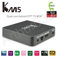 Amlogic S905X Android 6.0 TV Caja KM5 4K Quad Core 1G + 8G WIFI Estable H.265 IPTV Smart Media Player Set Caja superior