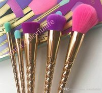Wholesale Wholesale Rose Hair - HOT tarte makeup brushes sets cosmetics brush 5 bright color rose gold Spiral shank make-up brush unicorn screw makeup tools tarte Contour