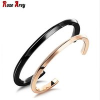 Wholesale New Fashion Couples Jewelry Black Rose Gold Stainless Steel Cuff Bangle Thin Bracelet Men Women Party Gifts OGH766