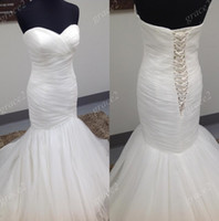 Wholesale Mori Wedding - Mori Design Mermaid Wedding Dresses 2017 with Lace Up Back and Sweetheart Neckline Real Photos Pleated Tulle Sexy vestido de noiva
