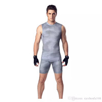 Wholesale Sports Body Suit - Men 's body suit vest shorts basketball running training clothes elastic compression fast - drying sports tights suit