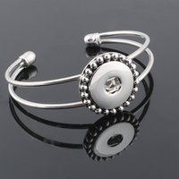 Wholesale One Direction Rhinestone Bracelets - Wholesale Metal Snap Bracelet&Bangles 18mm snap button jewelry Women's silver bracelet with charms one direction ZE156