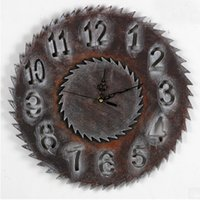 Wholesale Decorative Art Wall Clock - Wholesale- High-grade 2016 New Handmade 3D decorative large retro rustic art vintage big wall clock 40*40cm Free Shipping