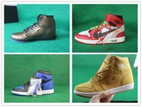 Wholesale Up Wings - 2017 Hot Sale Retro 1 Wings Tan Bronze OFF WHITE x Men's Basketball Shoes for Super AAA+ quality 1s Fashion Casual Sports Sneakers Size 8-13